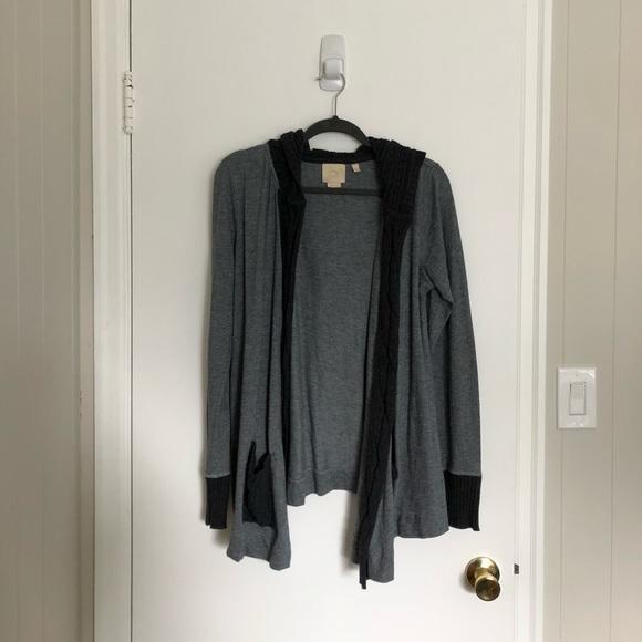 Anthropologie Sweaters - Anthropologie Herringbone Hooded Cardigan